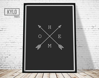 Home Arrow Print, Arrow Black and White Print, Wall Art Print, Home Print, Minimal Arrow Home Type, Elegant, Hipster Print, Minimalist Print