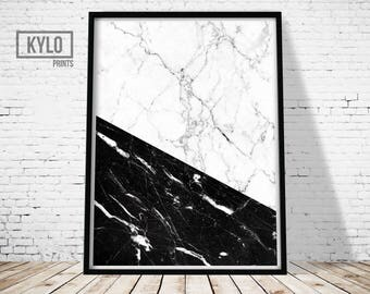 Marble Print, Digital Print, Printable Art, Home Decor, Marble Wall Art, Marble Poster, Black and White, Scandinavian Print, Abstract Print
