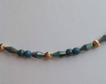 Teal, gold and crystal necklace