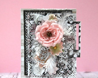 Romantic card with big ping rose in shades of pink and grey