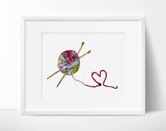 Knitting Art Print, Watercolor Painting, Knitting Art, Craft Print, Art Print, Original art, Knitting, Knitting Lovers, Watercolour Print