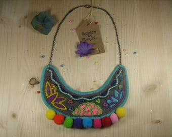 "Necklace ""Flowers and pom poms"" embroidered and beaded"