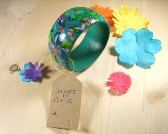 Hand painted floral wood bracelet