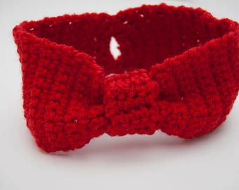 Knotted Headband | Red Messy Bun Ear Warmer, Knot Headband, Red Knotted Headband, Boho Wool Earwarmers, Boho Knot Headband, Boho Ear Warmers