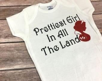 Princess Onesie, Prettiest in all the Land Onesie, Gifts, Baby Shower, Birthday