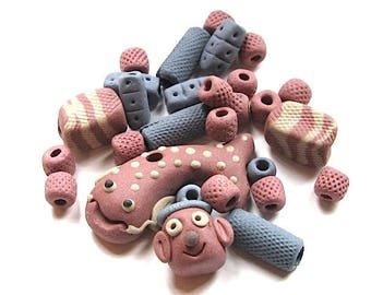 set funny clay charms and beads.