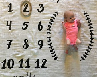 Watch Me Grow Blanket Month to Month Baby Milestone Muslin Blanket