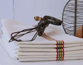 French linen tea towels - multi stripe