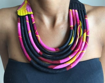 Multicolored Maasai African fabric necklace