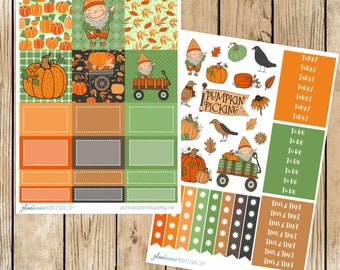 Gnarley the Gnome at the Pumpkin Patch, Mini Kit for use with Erin Condren Vertical LIFEPLANNERS, Planner Stickers, gnome stickers, full box