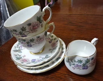 Very Pretty Royal Grafton Fine Bone China/Set of 7/x 2 Trios/Creamer/Fragrance/Vintage/1950s-1960s