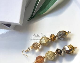 Amber crystal drop earrings-E-SG100