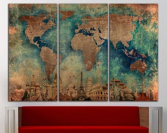 Map wall art etsy world map wall art canvas print world map wall decor world map print old world map gumiabroncs Image collections