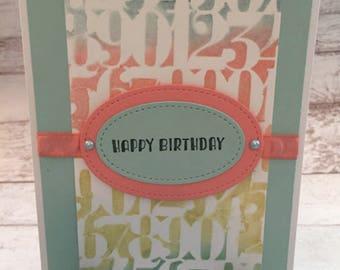 Birthday Card, Happy Birthday, Cute Handmade Card, Numbers, Hand Stenciled Card, Pastel Card