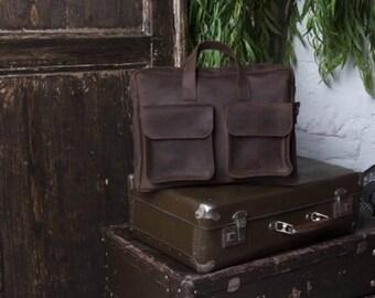 Vintage bag with strap, brown vintage bag, everyday vintage bag, leather business bag, mens leather bag, handmade brown bag, leather handbag