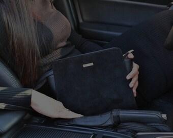 Black suede little bag, Leather zippered mini bag, Two types leather handbag, Leather shoulder bag, Leather crossbody bag, Ladies black bag