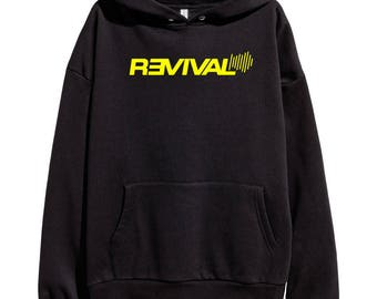 Eminem Revival Yellow Logo Hoodie Classic Hip Hop Rap Vintage Style Sweatshirt Revival Slim Shady Records Aftermath Entertainment Detroit
