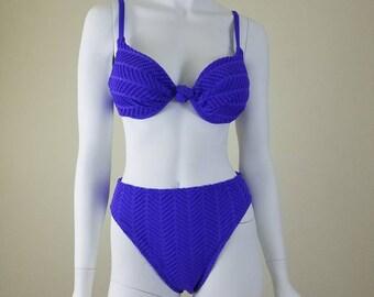 90s Two Piece, Purple Two Piece, Vintage Purple Bikini, 90s Purple Bikini, Textured Swimsuit, Vintage Purple Swimsuit, 90s Purple Swimsuit