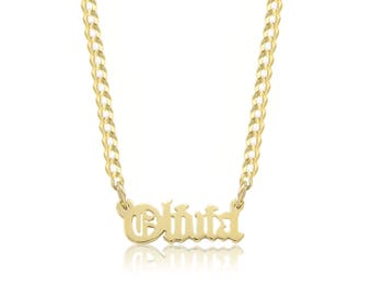 10K Solid Yellow Gold Personalized Custom Old English Name Pendant Cuban Chain Choker Necklace Set - Alphabet Letter Charm