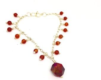 Red agate bracelet, carnelian bracelet, red agate stone, red bracelet, orange bracelet, multi bead bracelet, crystal bracelet, healing