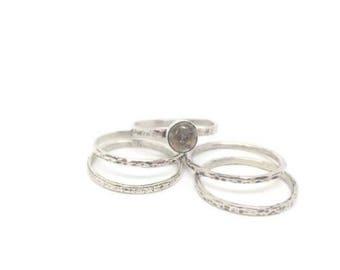 Stacking ring set, Silver stacking rings, Skinny stacking ring, Silver ring set, Rustic ring set, Labradorite  ring, Labradorite ring silver