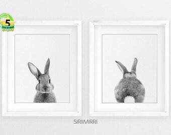 Rabbit Print Set, Baby Animal Print, Bunny Print, Woodland Nursery Art, Rabbit Butt Tail, Black and White, Printable, Nursery Woodland Bunny