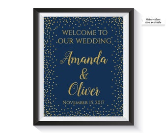 Welcome To Our Wedding Sign, Personalized Wedding Welcome Sign, Navy and Gold confetti Wedding Reception Decor, Custom, Printable Digital