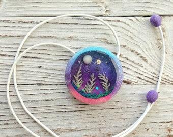 Moss Pendant, Purple Pendant, Bright Pendant, Round Pendant, Nature Pendant, Polymer Сlay Pendant, Resin Pendant, Festival Jewelry