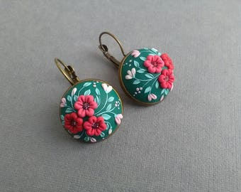 Polymer clay jewelry etsy filigree polymer clay earringsfloral embroiderypolymer clay appliquefloral necklacepolymer mozeypictures Images