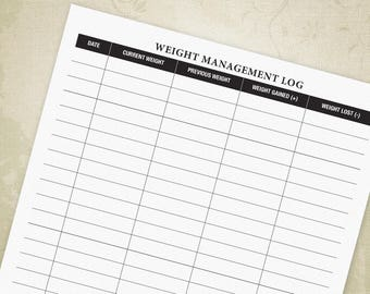 Weight Management Log Form PDF, Weight Loss Tracker, Weight Log, Weight Loss Printable, Digital File, Printable - INSTANT DOWNLOAD