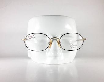 VENETO Vintage Eyeglasses Unisex Gold Metal Oval 1990s VENF5880Q-1