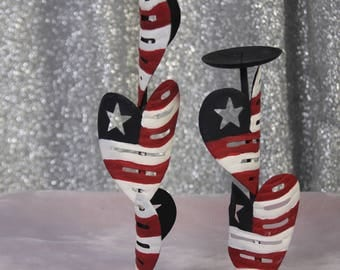 Red White And Blue USA Hand Painted Candle Holders