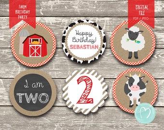 FARM ANIMALS Birthday Cupcake Toppers/Boy/Digital File/Printable Cupcake Toppers/Birthday Decoration/Old Macdonald/Cow/Barnyard birthday