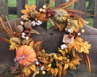 Fall wreath Thanksgiving Autumn wreath Pumpkin wreath Acorn wreath Leaves wreath Fall decor Autumn decor Door wreaths