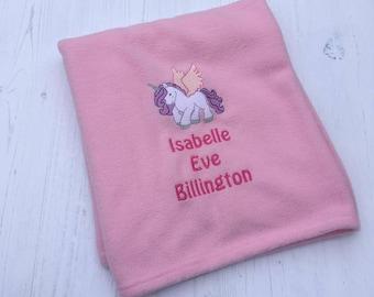 Personalised Baby Girl Blanket, Personalised Unicorn Blanket, Unicorn Baby Girl Blanket, New Baby Gift, Baby Girl Gift, Baby Shower Gift