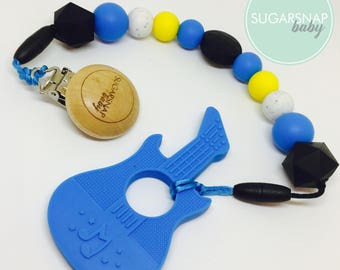 Blue Silicone Guitar Teether - baby - toddlers - newborn - gift for baby - silicone beads - guitar teether - new baby gift - baby boy