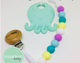 Octopus Teething Toy - chew beads - pacifier clip and teether - sensory toy - newborn - todder - kids - teethe - soother - toy - silicone