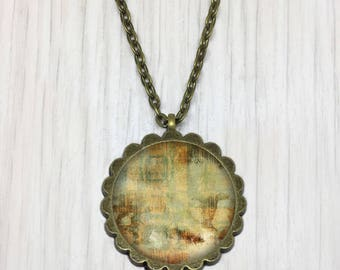 Pendant necklace canvas old chamaree bronze medallion, gift jewelry