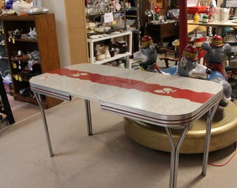 1950s white and red apple formica dinette table with leaf pick up