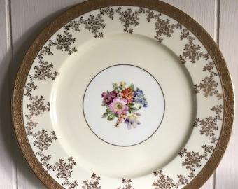 Antique Edgerton Gold Floral Plate - Vintage Antique Plate - Fine Dining - Food Photography Prop