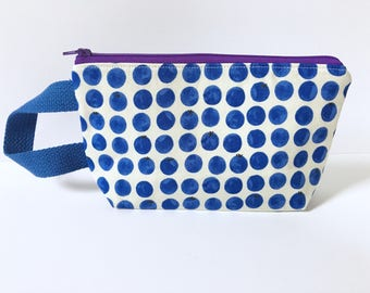 Small Zipper Pouch, Mini Clutch, Wristlet, Makeup Bag, Notions Pouch, Purse Organizer, Accessory Pouch, Blueberry Zipper Pouch, Small Zippy