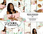 African American Planner Girl African American Digital Paper Pack African American Fashion Illustration Planner Stickers Supplies