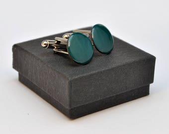 Jade green enamel cufflinks