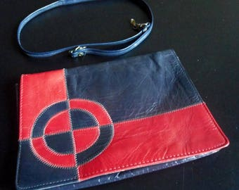 Vintage leather clutch, red and blue sixties vintage handbag, purse, blue and red leather sixties