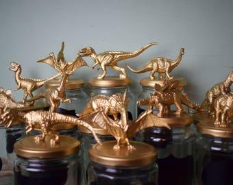 Upcycled Gold Dinosaur Jars