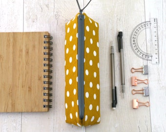 Mustard zipped pouch Pencil case Lined zip bag Polka dot makeup bag Storage pouch Gift for her Teacher gift