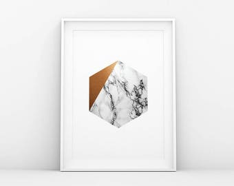 Gray White Gold Marble - Hexagon - Abstract Poster - Marble Poster - Modern Printable Art - Minimalistic Wall Art - Scandinavian Print Art