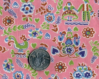 Antique Feed Sack Fabric Roosters, Baskets, Couple Holding Hands on Pink  By the Half Yard