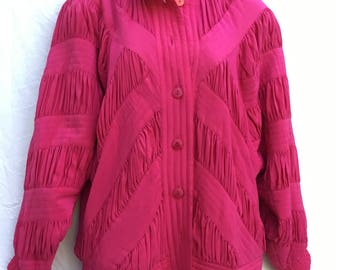 90's silk bomber bright pink batwing coat women's button jacket large quilted shirred