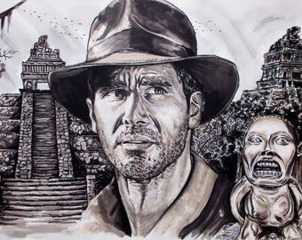 Indiana jones, pencils and pens on paper a3